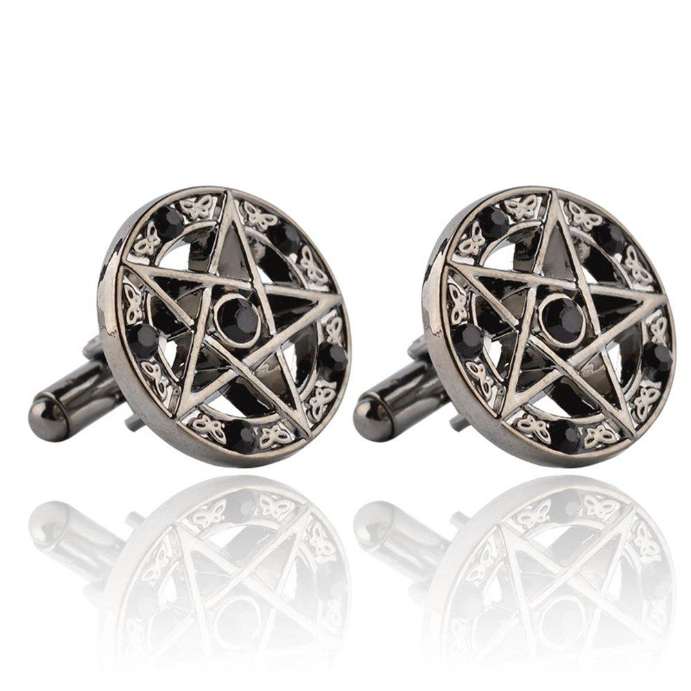 Men's Cufflinks Five-pointed Star Pattern Round Cuff Buttons Accessory - BLACK