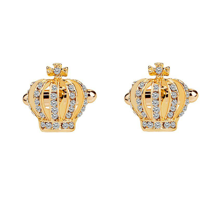 Men's Cufflinks Imperial Crown Shape Rhinestone Cuff Buttons Accessory - GOLDEN