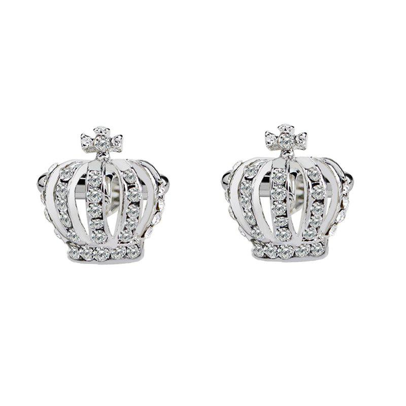 Men's Cufflinks Imperial Crown Shape Rhinestone Cuff Buttons Accessory - SILVER