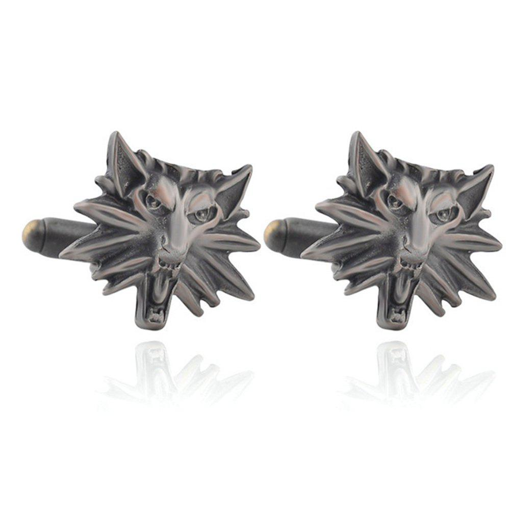 Men's Cufflinks Personality Animal Head Shape Cuff Buttons Accessory - BLACK