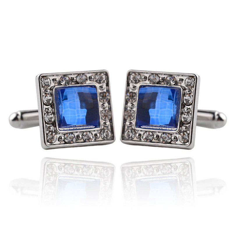 Men's Cufflinks Square Zircon Mosaic Patchwork Color Cuff Buttons Accessory - BLUE