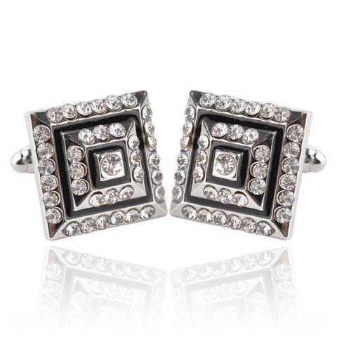 Men's Cufflinks Rhinestone Chic Design Square Cuff Buttons Accessory - BLACK / SILVER