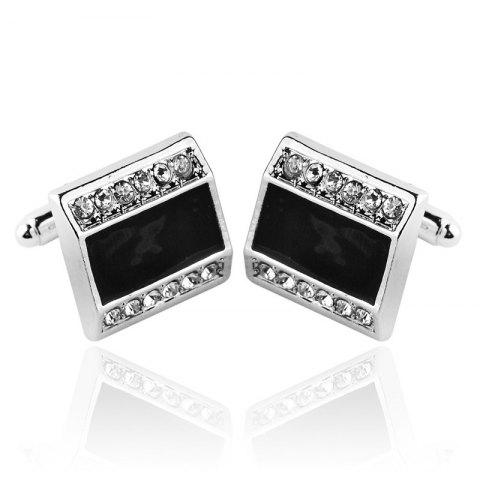 Men's Cufflinks Rhinestone Patchwork Creative Design Cuff Buttons Accessory - BLACK