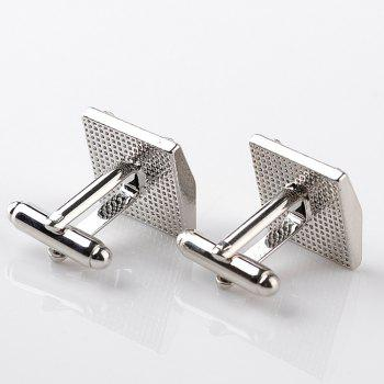 Men's Cufflinks Rhinestone Striped Alloy Plated Cuff Buttons Accessory - BLACK / SILVER
