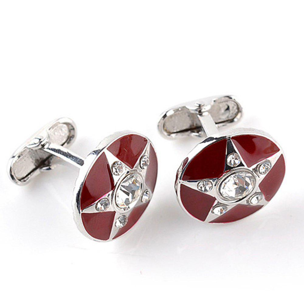 Men's Cufflinks Five-pointed Star Pattern Rhinestone Cuff Buttons Accessory - RED