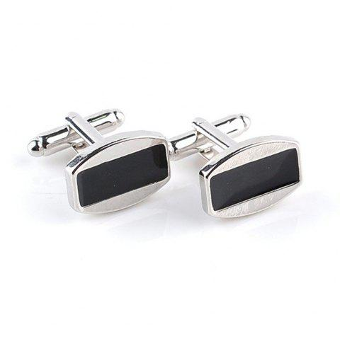 Men's Cufflinks All Match Patchwork Color Chic Cuff Buttons Accessory - BLACK