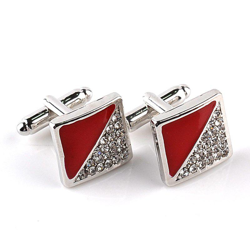 Men's Cufflinks Triangle Patchwork Color Rhinestone Cuff Buttons Accessory - RED