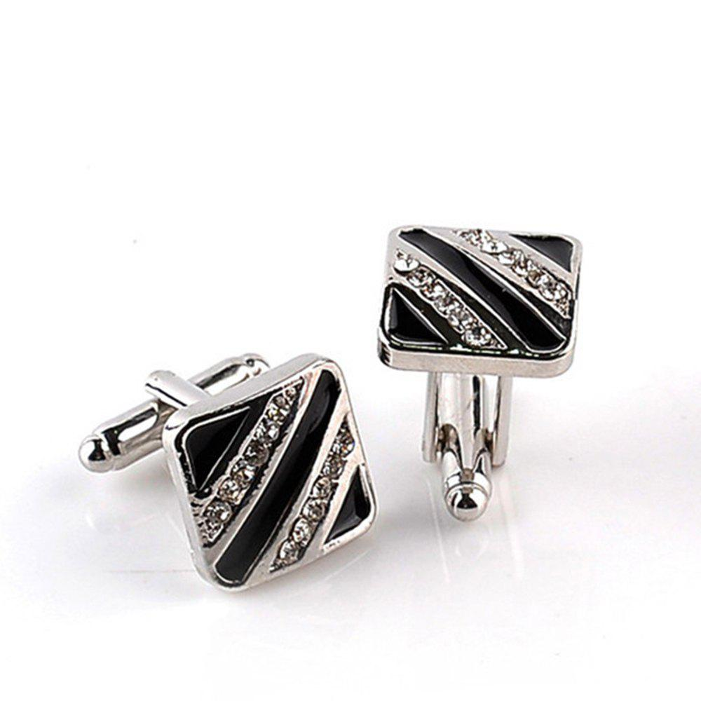Men's Cufflinks Rhinestone Patchwork Color Trend Fine Cuff Buttons Accessory - BLACK