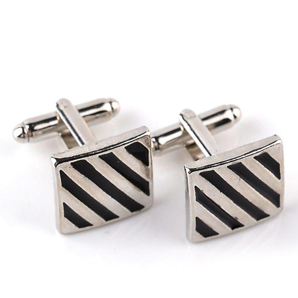 Men's Cufflinks Simple Style Striped Creative Chic Cuff Buttons Accessory - BLACK / SILVER