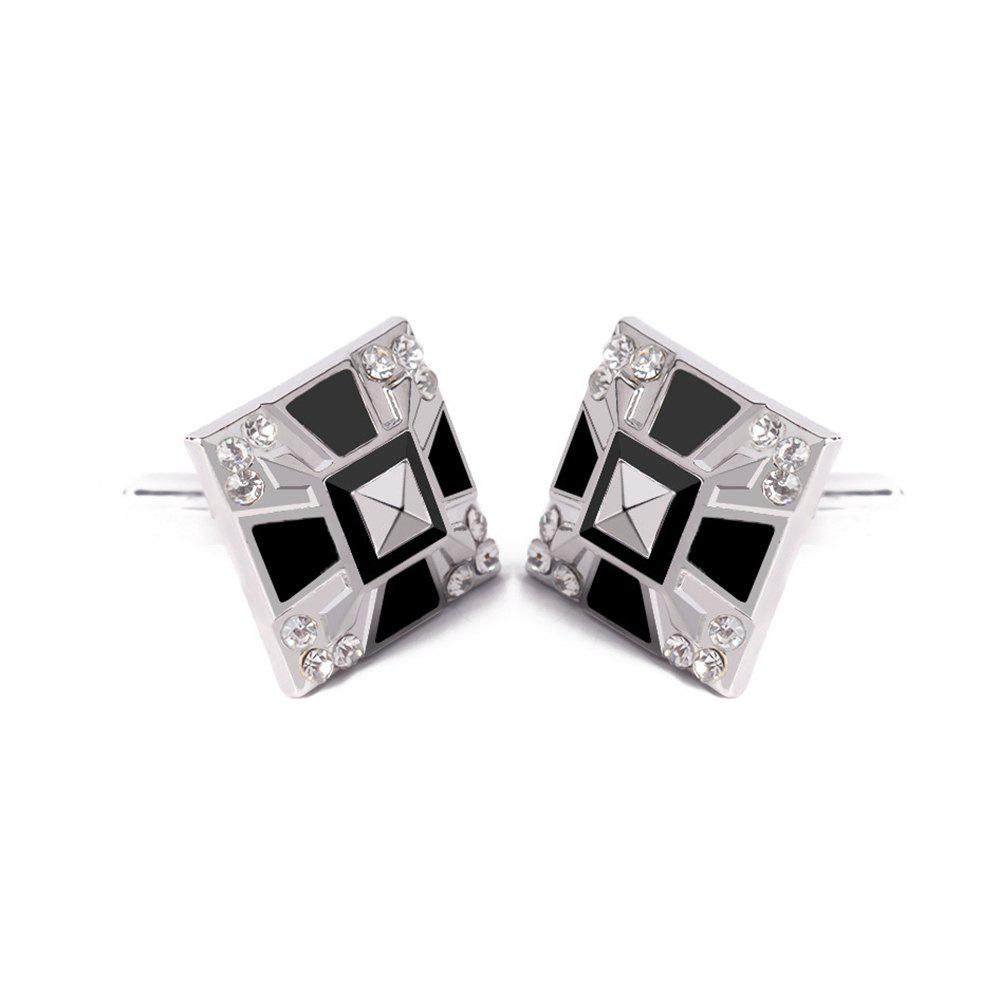 Men's Cufflinks Patchwork Color Geometrical Square Cuff Buttons Accessory - BLACK / SILVER