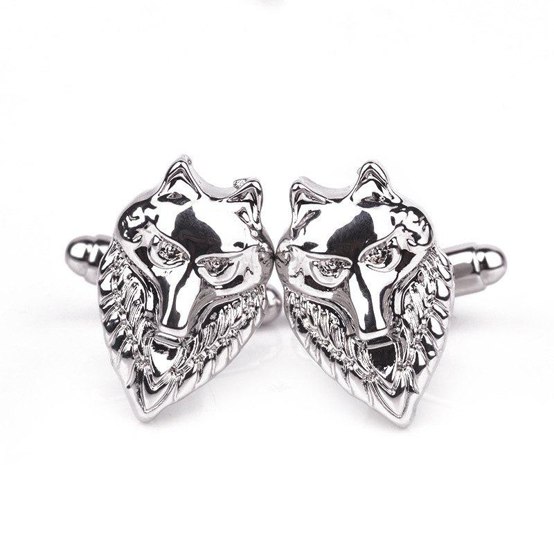 Men's Cufflinks Animal Head Shape Original Fine Cuff Buttons Accessory - SILVER