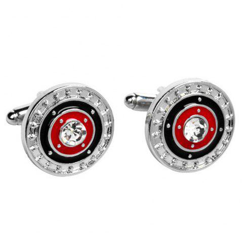 Men's Cufflinks Color Block Alloy Chic Round Cuff Buttons Accessory - BLACK/RED