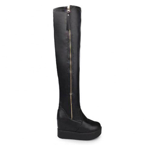 abc2dd141f5 Women Autumn Winter Sexy Over Knee PU Boots Fashion Casual PU Leather Roman  Soft Comfortable Waterproof High Heel Shoes with Zipper