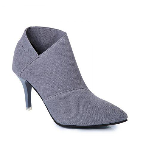 TJ-196Ms Han All-Match Pointed Stiletto Boots - GRAY 35
