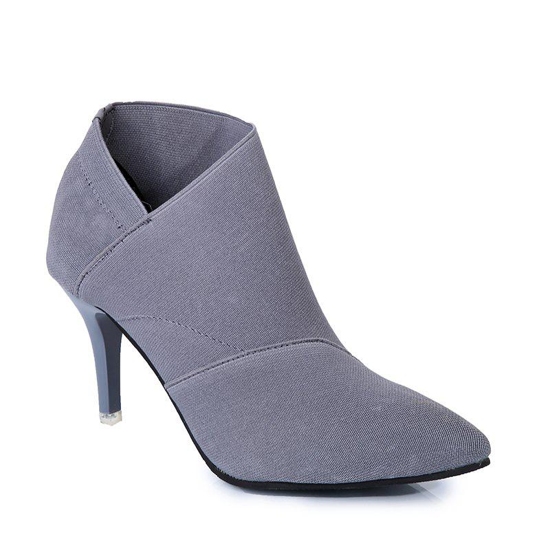 TJ-196Ms Han All-Match Pointed Stiletto Boots - GRAY 40