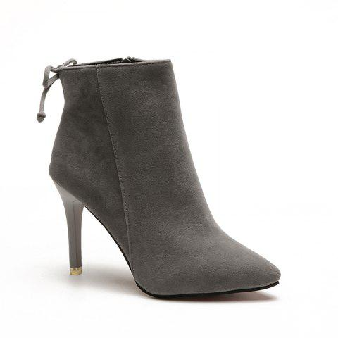 Winter New England Wind Velvet Pointed Martin Boots - GRAY 37
