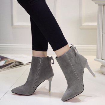 Winter New England Wind Velvet Pointed Martin Boots - GRAY GRAY