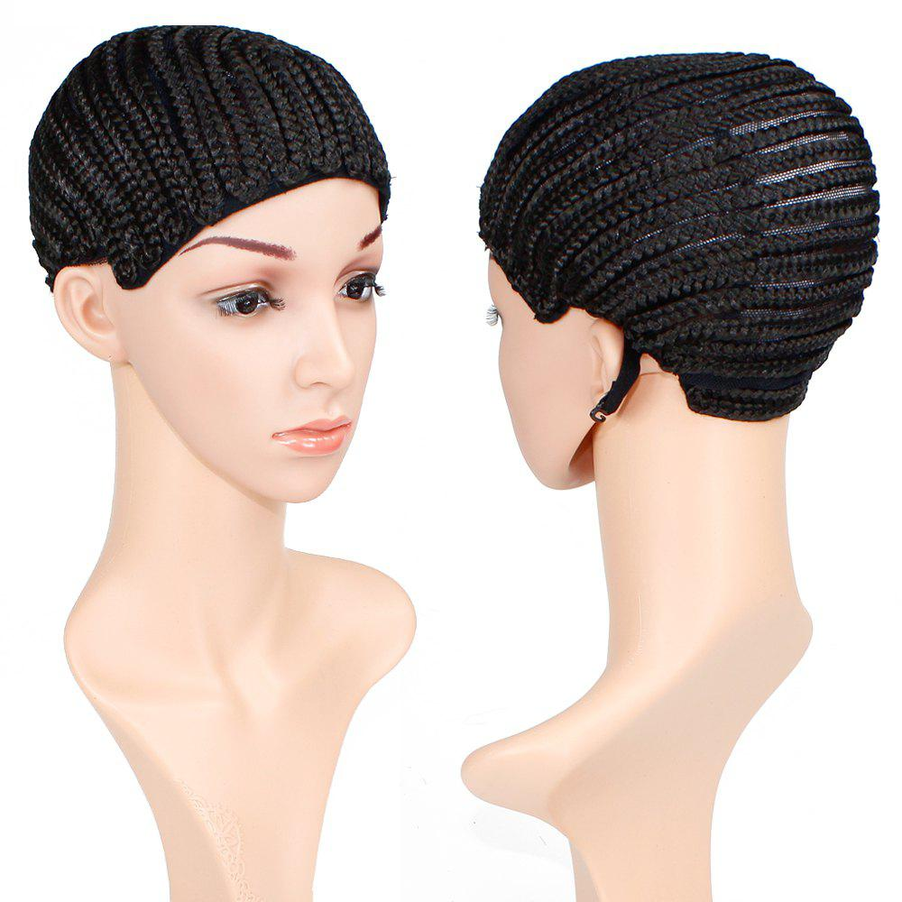 Braided Wig Cap Crochet Cornrows with Three Combs for Making Wigs Adjustable Medium Size Natural Black chuxin solid wood 3 anti static combs kit with cask 3 sizes beech combs with massage function for scalp oval sculpt