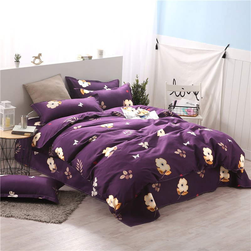 2018 Weina Floral And Smiling Designs Literie Violet Fonce Roi In