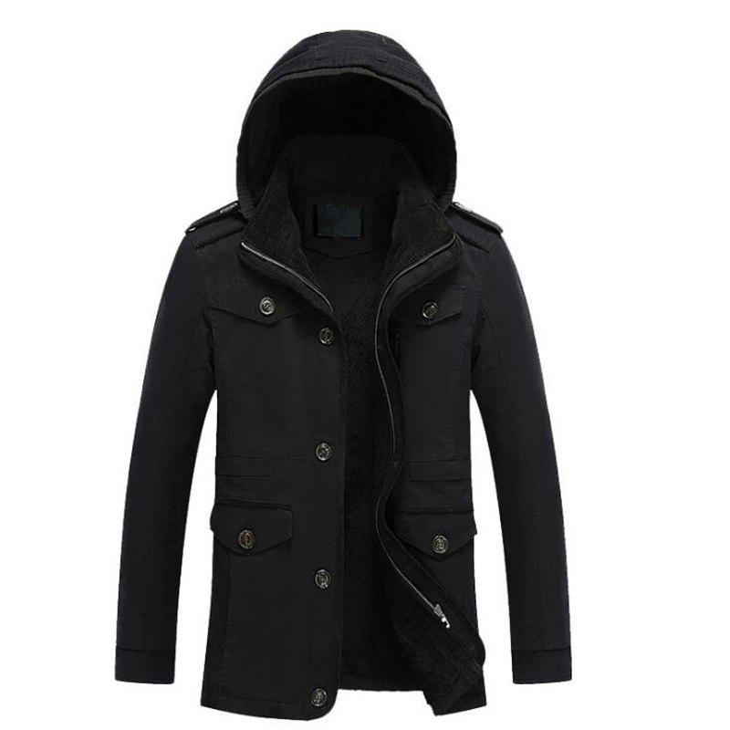 Men's Casual Coat Solid Hooded Fleece, Black