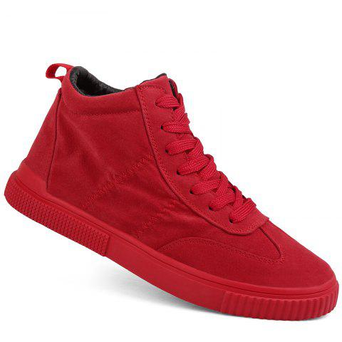 Men Casual Trend for Fashion Outdoor Winter Leather Lace Up Pu Rubber Soft Shoes - RED 44