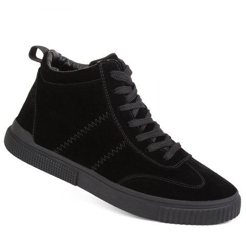 Men Casual Trend for Fashion Outdoor Winter Leather Lace Up Pu Rubber Soft Shoes - BLACK 43