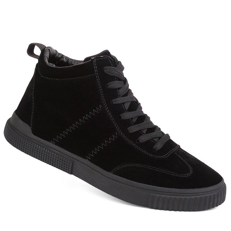 Men Casual Trend for Fashion Outdoor Winter Leather Lace Up Pu Rubber Soft Shoes - BLACK 44