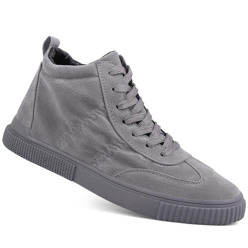 Men Casual Trend for Fashion Outdoor Winter Leather Lace Up Pu Rubber Soft Shoes - GRAY 40
