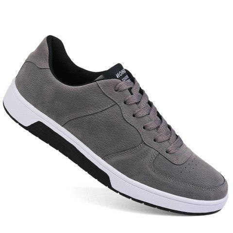 Men Casual Trend for Fashion Outdoor Leather Winter Lace Up Pu Rubber Flat Shoes - GRAY 42