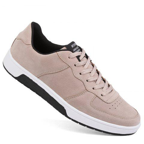 Men Casual Trend for Fashion Outdoor Leather Winter Lace Up Pu Rubber Flat Shoes - KHAKI 40