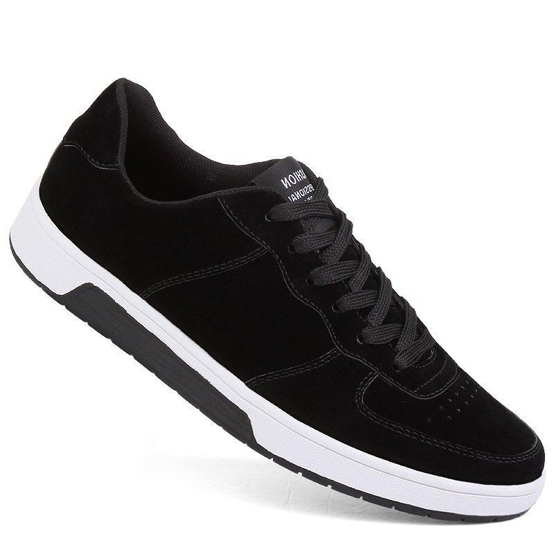 Men Casual Trend for Fashion Outdoor Leather Winter Lace Up Pu Rubber Flat Shoes - BLACK 40