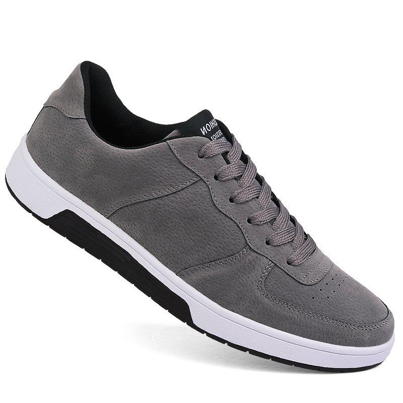 Men Casual Trend for Fashion Outdoor Leather Winter Lace Up Pu Rubber Flat Shoes - GRAY 40