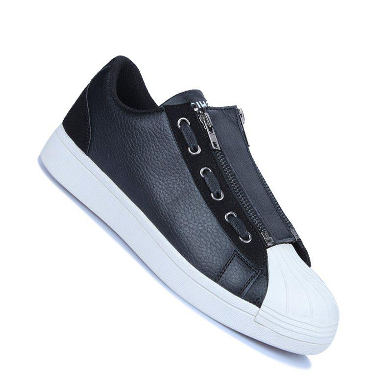 Men Casual Fashion Outdoor Leather Flat Shoes - BLACK 44