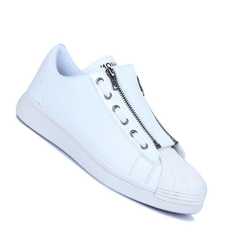 Men Casual Fashion Outdoor Leather Flat Shoes - WHITE 44