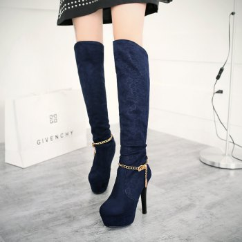 Round Table with Ultra Fine Waterproof Sexy High-Heeled Boots Knee - BLUE BLUE