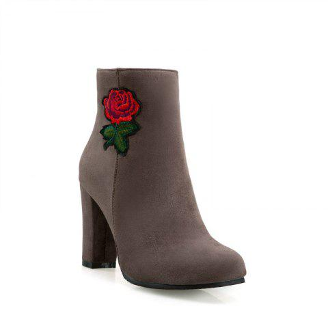 Round Head Heel High Fashion Embroidery Temperament Short Boots - APRICOT 43