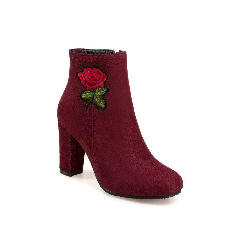 Round Head Heel High Fashion Embroidery Temperament Short Boots - RED 32