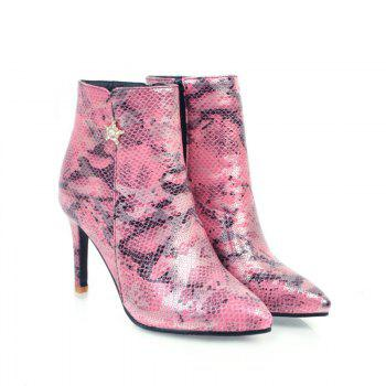 Pointy Heel High Heel Snake Boots - PINK PINK