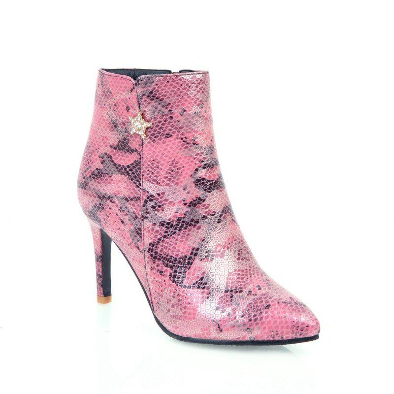 Pointy Heel High Heel Snake Boots - PINK 34