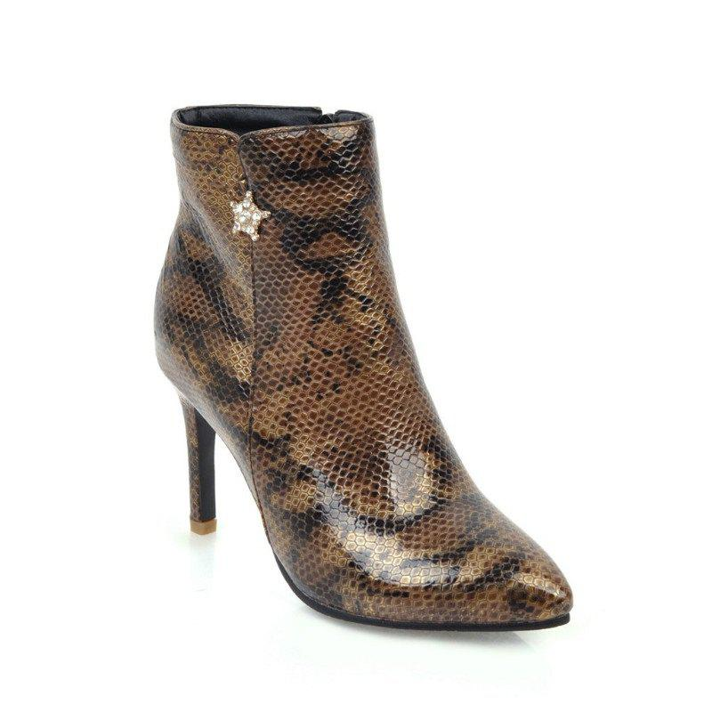 Pointy Heel High Heel Snake Boots - BROWN 43
