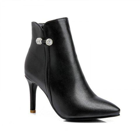 Pointed Heel High Heel Naked Boots - BLACK 35