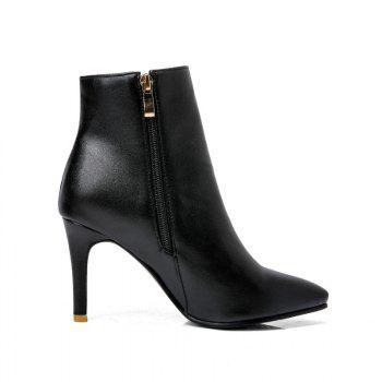Pointed Heel High Heel Naked Boots - BLACK BLACK
