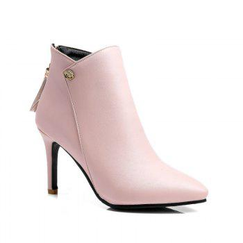 Pointed Heel High Heel Zipper Short Boots - PINK PINK