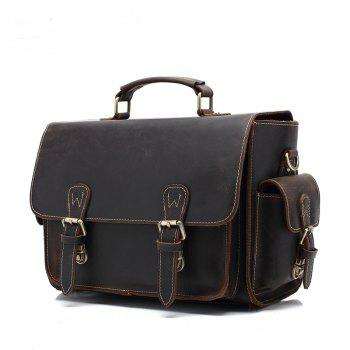 AUGUR Retro Men Handbag Multifunction Genuine Leather Shoulder Messenger Bag -  DEEP BROWN