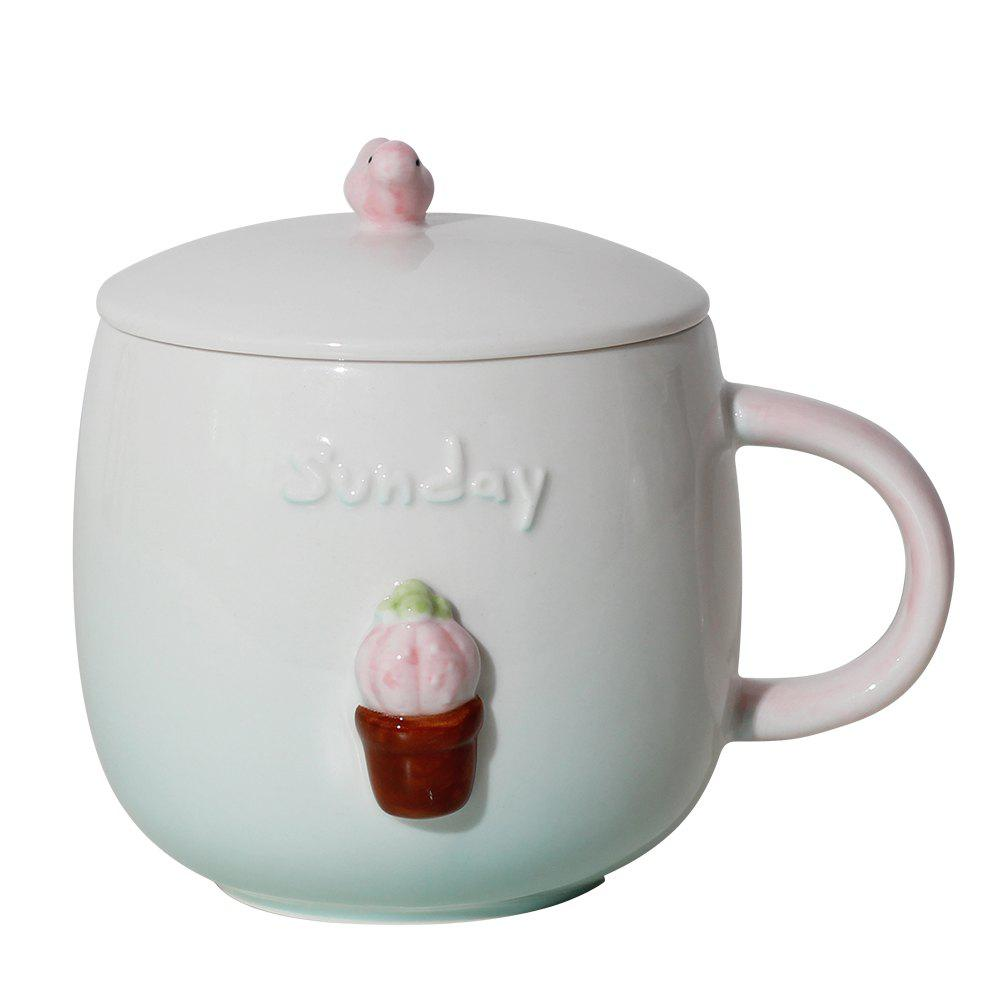 400ML Three-dimensional Miniature Potted Creative Ceramic Mug - PINK