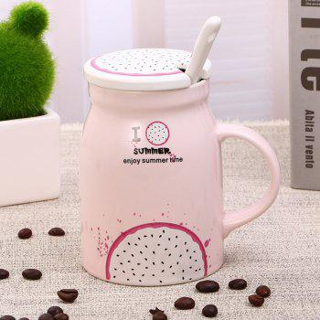 400Ml Summer Profusion Creative Ceramic Cup - LIGHT PINK LIGHT PINK