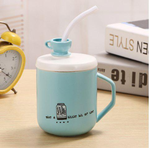 400Ml Straw Colored Glazed Candy-colored Ceramic Cup - LIGHT BLUE