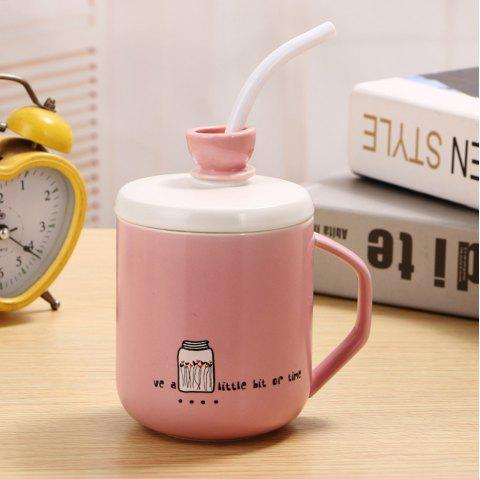 400Ml Straw Colored Glazed Candy-colored Ceramic Cup - LIGHT PINK