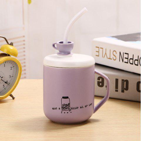 400Ml Straw Colored Glazed Candy-colored Ceramic Cup - LIGHT PURPLE