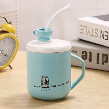 400Ml Straw Colored Glazed Candy-colored Ceramic Cup - LIGHT BLUE LIGHT BLUE